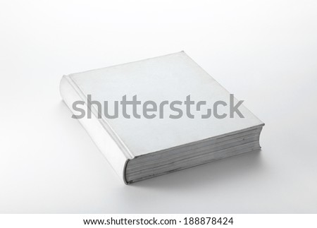 Blank white book on white background