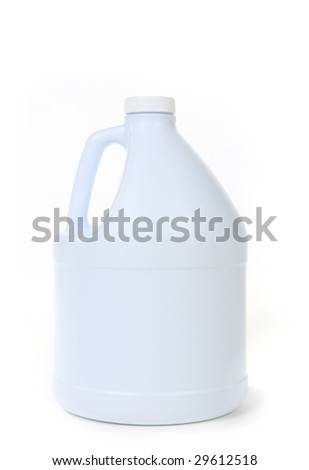 Blank White Bottle Of Bleach Isolated On Background