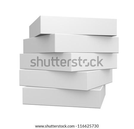 Blank White Boxes Isolated on  White