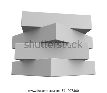 Blank White Boxes Isolated on White background. 3d render