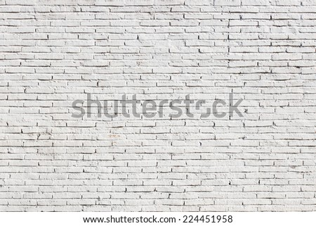 Blank white brick wall background - stock photo