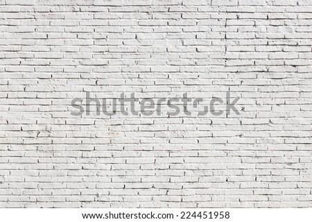 Blank white brick wall background - stock photo