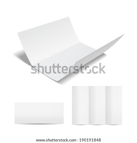Blank white brochure or flyer template with a trifold sheet of paper in the open  closed and partially open format on a white background for your marketing and advertising