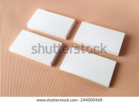 Blank white business cards on color background. Template for ID. - stock photo