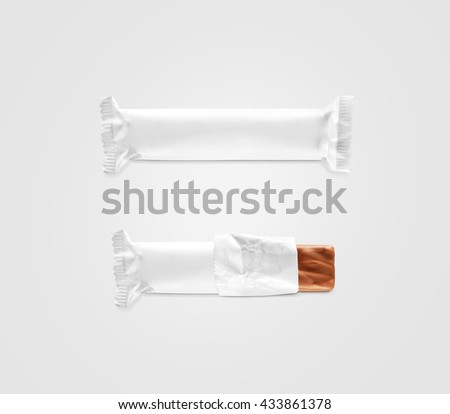 Blank white candy bar plastic wrap mockup isolated. Closed and opened chocolate bar packaging wrapper template. Choco factory logo candybar package mock up. Sweet pastry shop energy bar container. - stock photo