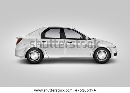 Blank white car design mockup, isolated, side view, clipping path, 3d illustration. Auto body mock up profile. Plain vechicle corporate branding. Sedan motor car presentation. Simple city machine
