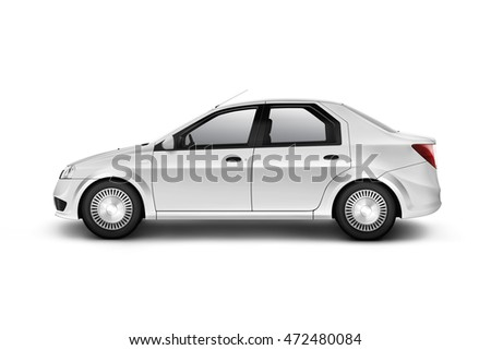 Blank white car design mockup, isolated, side view, 3d illustration. Clear auto body mock up profile. Plain vechicle branding template.
