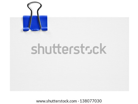 Blank white card with blue clip on white - stock photo