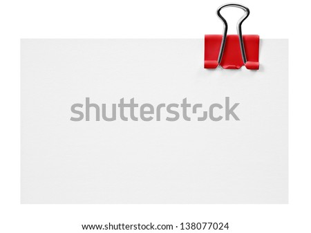 Blank white card with red clip on white - stock photo
