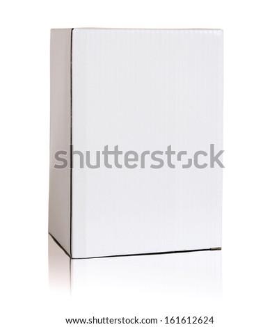 Blank white cardboard box isolated on white background - stock photo