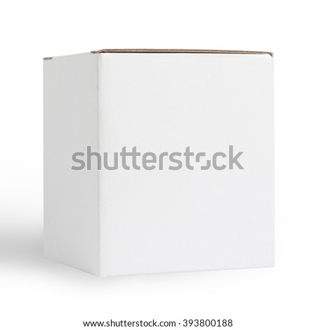 Blank White Cardboard Box Isolated on White Background with Clipping Path