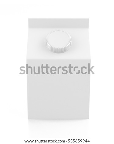 Blank white carton liquid container. Isolated on white background. Include clipping path. 3d render
