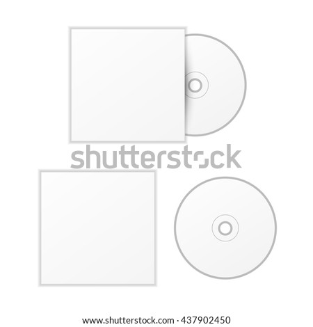 Blank white compact disk with cover mock up template isolated on white - stock photo