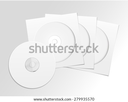 blank white compact disk with cover set isolated on grey