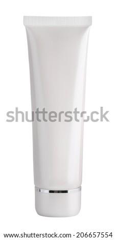 Blank white cosmetic tube - stock photo