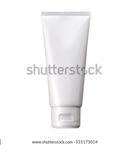 Blank White cosmetic tube pack Of Cream Or Gel. Ready for your package design. isolated on white background - realistic photo image - with clip path - stock photo
