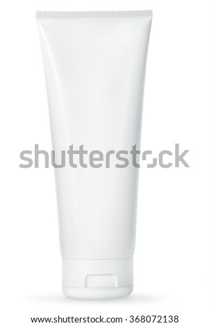 Blank White cosmetic tube pack Of Cream Or Gel. Ready for your package design. isolated on white background - with clip path - stock photo