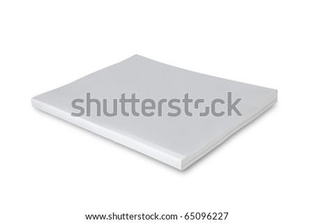 Blank white cover magazine isolated on white background - stock photo