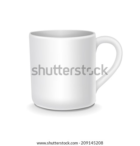 blank white cup isolated on white background