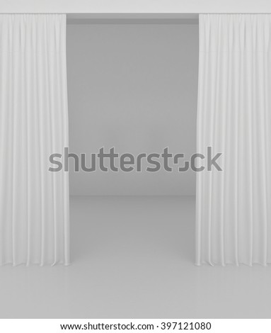 Blank white curtain or drapes on white-gray background