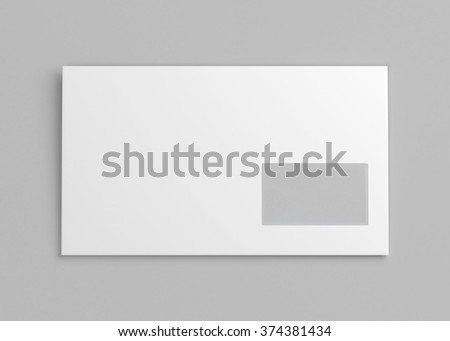Blank white envelope with window. 3d render image - stock photo