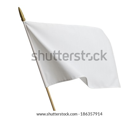 Blank White Flag Blowing in Wind Isolated on White Background. - stock photo