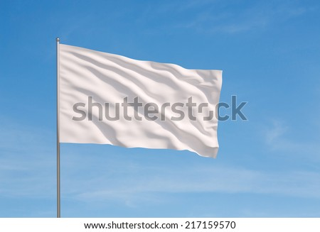 blank white flying flag on a clear sky for designer - stock photo