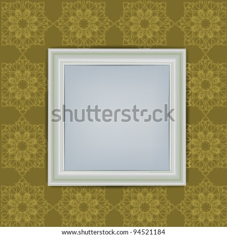 Blank White Frame on Wall - stock photo