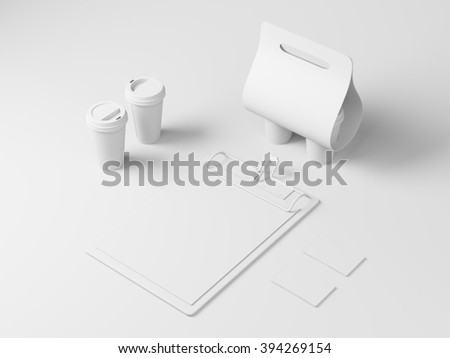 Blank white identity elements for restaurant - stock photo