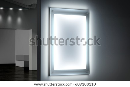 Blank White Illuminated Poster Mockup In Dark Hall 3d Rendering Clear Glowing Affiche Design