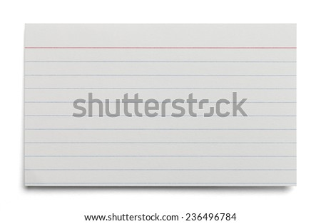 Blank White Index Card With Lines Isolated on White Background. - stock photo