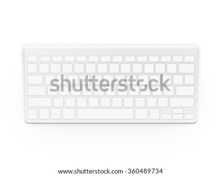 Blank white keyboard design mock up isolated. Empty buttons keypad mockup. Clear keys plastic board template. Pc clavier layout. - stock photo