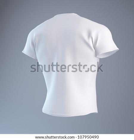 Blank White Men's T-shirt design template - stock photo