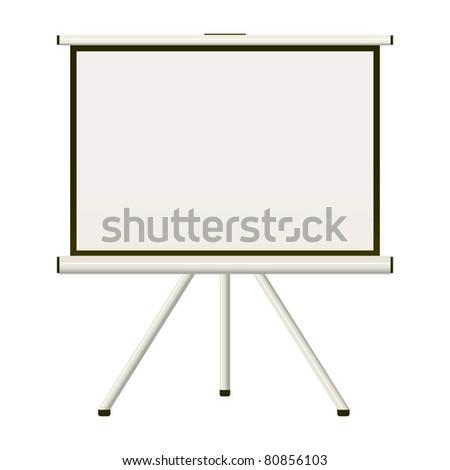 Blank white modern blank projector screen that folds away - stock photo