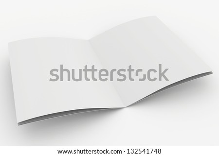 blank white open magazine - stock photo
