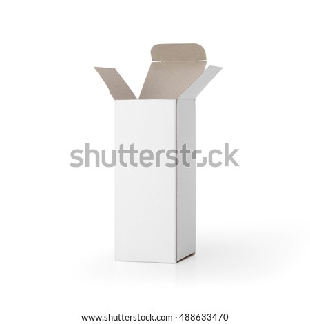 Blank White opened cardboard box isolated on white background. Packaging template mockup collection. With clipping Path included.
