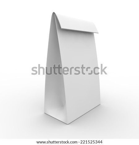 Blank white package for food. Isolated background - stock photo