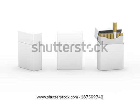 Blank white package  of cigarettes with clipping path, ready for your label, artwork and design - stock photo