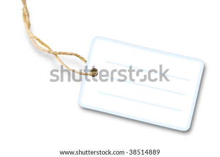 Blank white packaging label with cotton string isolated on white background with shadow