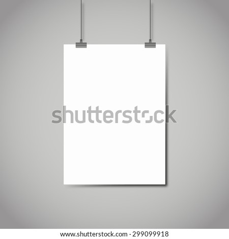 Blank white page hanging against grey background template - stock photo