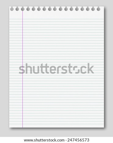 blank white paper background from lined page