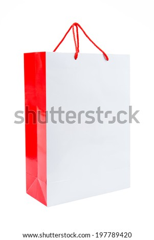 Blank white paper bag isolated on white background - stock photo