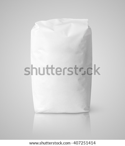 Blank white paper bag package of salt on gray with clipping path - stock photo