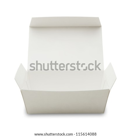 blank white paper box with lid open , often used in fast food packaging. - stock photo