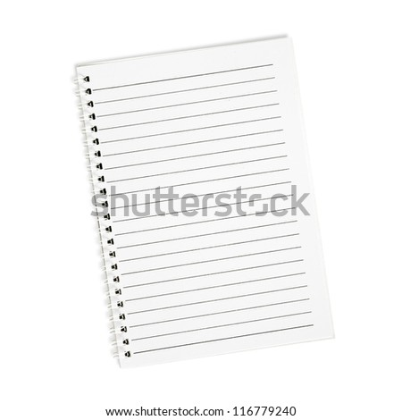 Blank white paper isolated on white background.