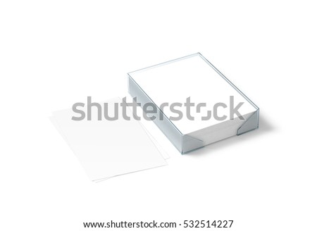 Blank white paper sheet mockup and plastic a4 block, 3d rendering. Stack of pages in acrylic transparent holder box mock up, isolated. Desktop stationery pocket template. Legal documents tray.