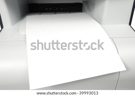 blank white paper sheet output  from printer xerox fax isolated over white background