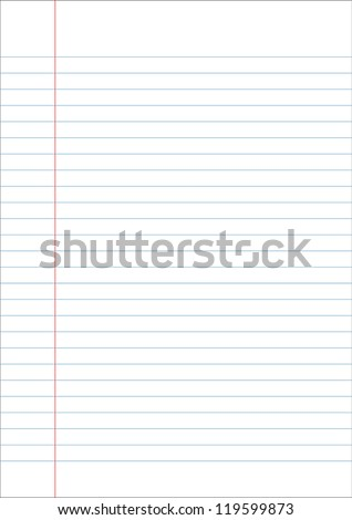 Blank white paper with blue line, black stroke and margin