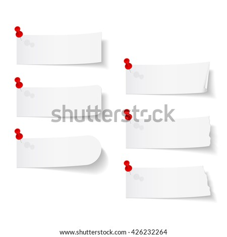 Blank white paper with push pins on white background - stock photo