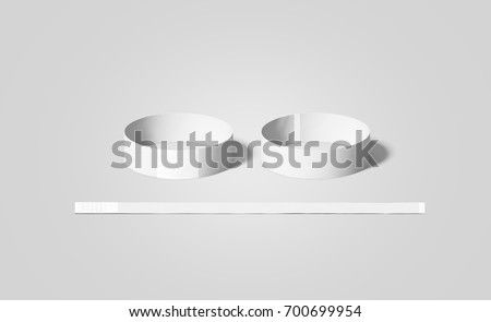 blank white paper wristbands mock ups front and back side view 3d rendering